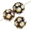 Rhinestone Bead 10mm Antique copper/ Crystal Aurora Borealis